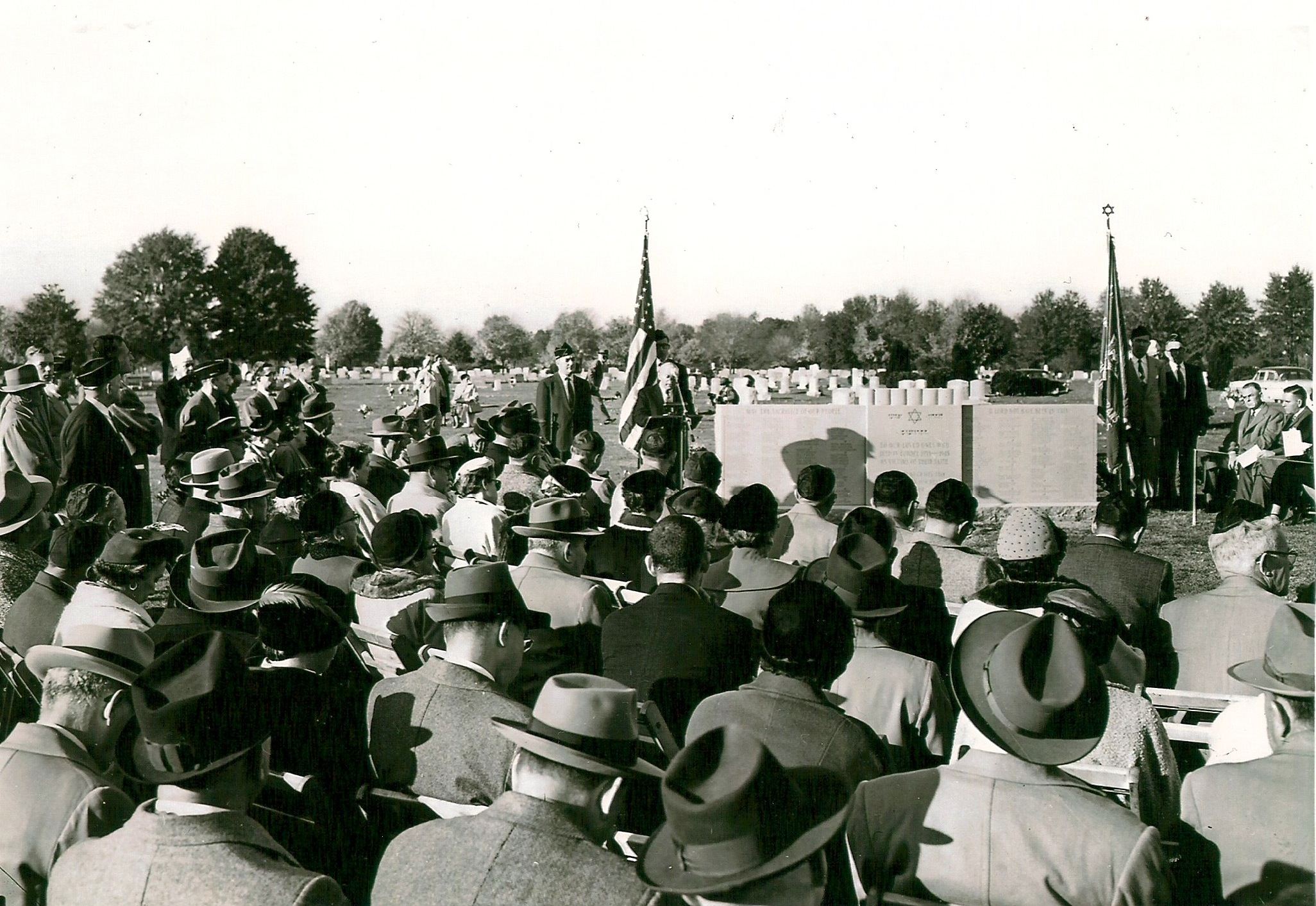 Image of the dedication of the Emek Sholom Memorial in 1955